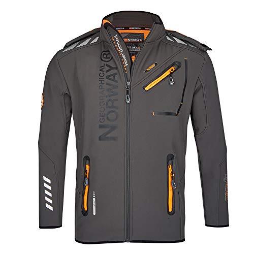 Geographical Norway Herren Softshell Funktions Outdoor Jacke wasserabweisend im Bundle mit urbandreamz Beanie (7XL, Dunkelgrau RO)