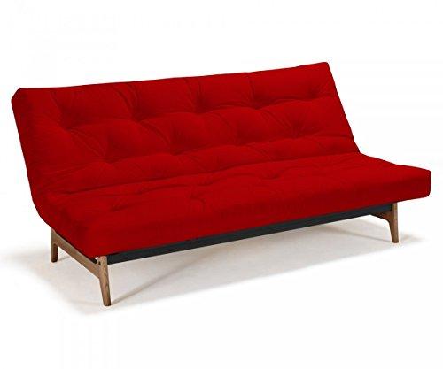 Futonsofa Aslak - Schlafsofa 140 x 200 cm mit Futon & Lattenrost, Farbe und Futon wählbar, Futonfarbe:Rot, Futonauflage:Futon Komaki Latex