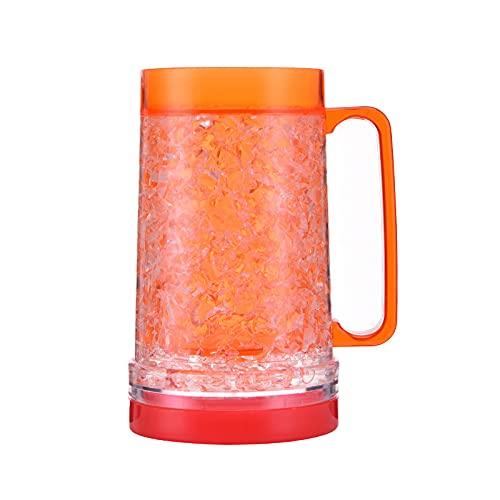 YFQX,Copas de Vino, congelador Tazas de Cerveza con Gel, Cerveza Tazas para congelador, congelador Tazas para Cerveza, congelador de Gel de Doble Pared Tazas, Cerveza Tazas con asa-Orange