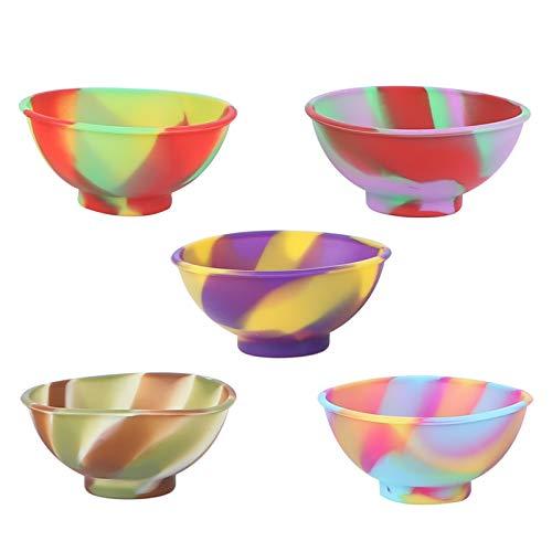 PIXNOR 5Pcs Dip Ciotola Salsa Ciotole Silicone Lato Piatti Ciotola di Porcellana Piccola Ciotola Spuntino Ciotole Cute Dessert Ciotole (Modello Misto)