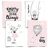 Donari® Bilder Kinderzimmer Mädchen DIN A4 • Poster Kinder Prinzessin und Einhorn • Dekoration...
