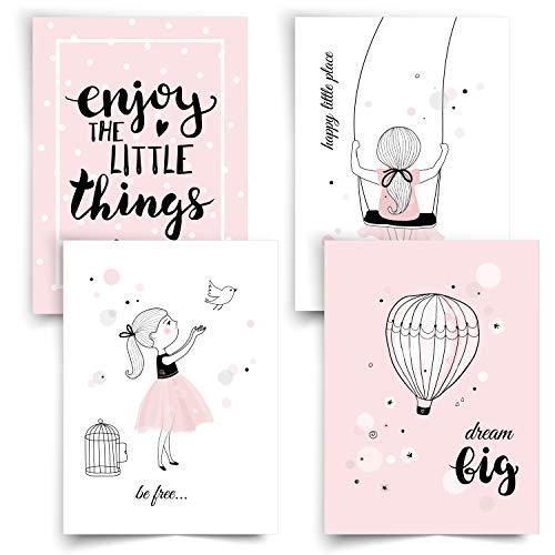 Donari® Bilder Kinderzimmer Mädchen DIN A4 • Poster Kinder Prinzessin und Einhorn • Dekoration Mädchenzimmer Rosa Wandposter Set • Deko Teenager Mädchen Zimmer (Set 1)