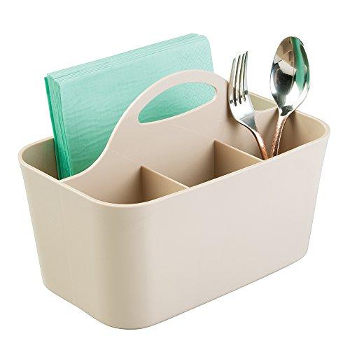 mDesign Cesta organizadora con 4 compartimentos para utensilios de cocina - Cesta de plástico con asa - Organizador de cocina - gris oscuro