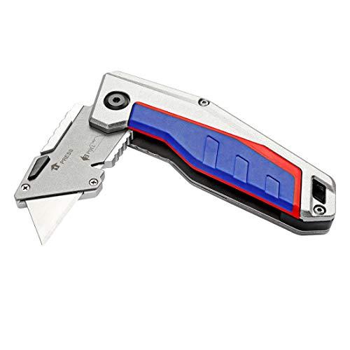 WORKPRO Cutter Utilitaire Couteau Pliant avec Mécanisme de Changement Rapide - Poignée en Alu Antidérapant - Liner Lock Maintient Lame en Sécurité, 10 Lames Supplémentaires Incluses