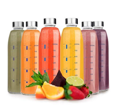Botellas de Agua de Cristal - Set de 6 Botellas Reutilizables de Vidrio sin BPA con Funda de Nailon y Tapa a Prueba de Fugas Para Batidos, Zumos, Té y Otras Bebidas Para Adultos y Niños - 6 x 1000 ml