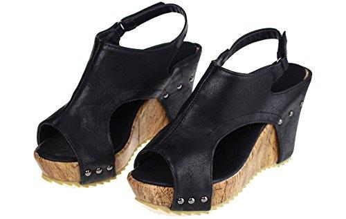 hochwertige Damen offene Plateau-Schuhe mit Keilabsatz, Sandaletten, Sandalen, Kork und Leder Optik (37 EU, Schwarz)