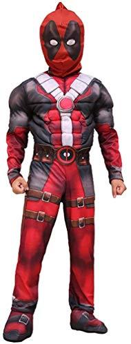 Disfraz de cosplay de Deadpool con Cofre Muscle, Disfraz de Deluxe para Nios Ropa Mscula Msculo Superhroe Movie Protights Muchos de Carnaval Halloween Body, Edad 4-10 aos Escenario de pelicula