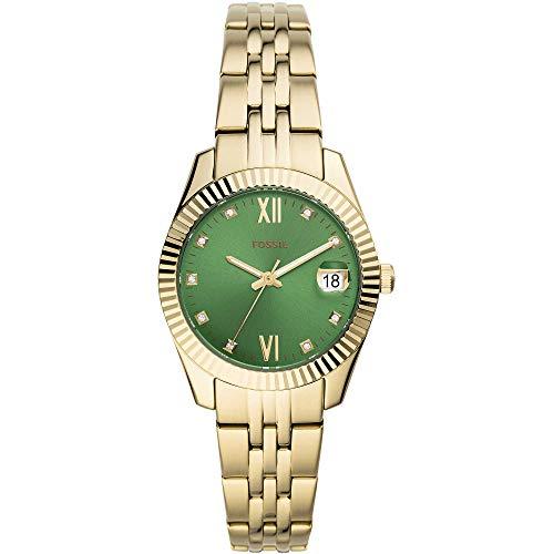 Fossil ES4903 Scarlette Mini Uhr Damenuhr vergoldet 5 bar Analog Datum Gold