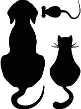 Muursticker hond, kat en muis, 45 x 45 cm, zwart