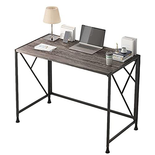 Dongxiao Mesa plegable para el hogar, oficina, escritorio simple, sin montaje, moderno y simple, mesa de estudio, plegable, para espacios pequeños, muebles de oficina (color: gris)