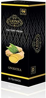 Lions Tea Ginger, Pure Ceylon Black Tea with Ginger (25 tea bags)