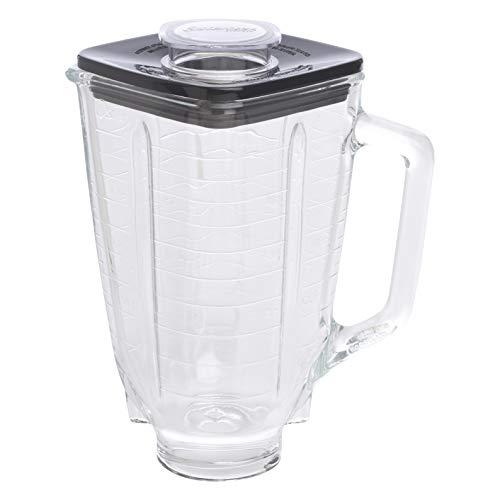 Oster 004954-011090-I - Jarra de vidrio cuadrada 5 tazas (1.25 l) con tapa cuadrada, color negro y tapón de llenado