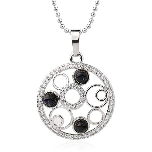 Necklace For Women,Vintage Punk Reiki 7 Chakra Natural Gem Blue Sand Stone 4Mm Tiny Micro Inlay Zircon Multi-Circle Round Hollow Pendant Necklaces With Silver Chain Christmas Party Gift For Women