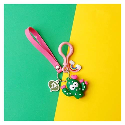 JSJJARF Keychain Cute Sweet Cactus Barbary Fig Rubber Waistband Rainbow Keychain For Women Trinket Key Chains Ring Car Bag gift (Color : C)