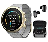 Suunto 3 New Edition Fitness Tracker Multisport Watch with Heart Rate Monitor, Pebble White Light Gold with Wearable4U Earbuds Power Bundle