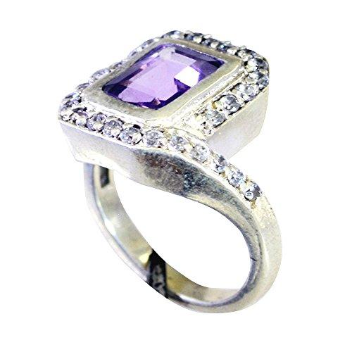 CaratYogi Natürlicher Amethyst Silber Ring Für Frauen Smaragd-Cut Pflastern Stil Design Geschenk Für Frau Größen 68 (21.6)