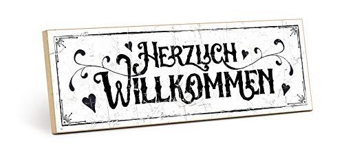 TypeStoff Holzschild mit Spruch – HERZLICH WILLKOMMEN – im Vintage-Look mit Zitat als Geschenk und Dekoration zum Thema Zuhause und Begrüßung (9,5 x 28,2 cm)
