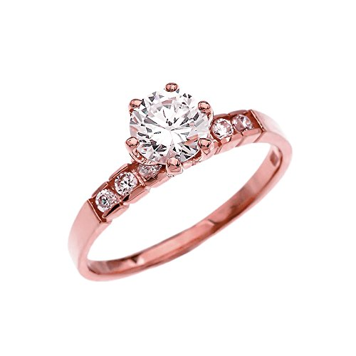 Channel Set Diamond Solitaire Engagement Ring with 1 Carat White Topaz Center Stone in Rose 9 ct Gold HII