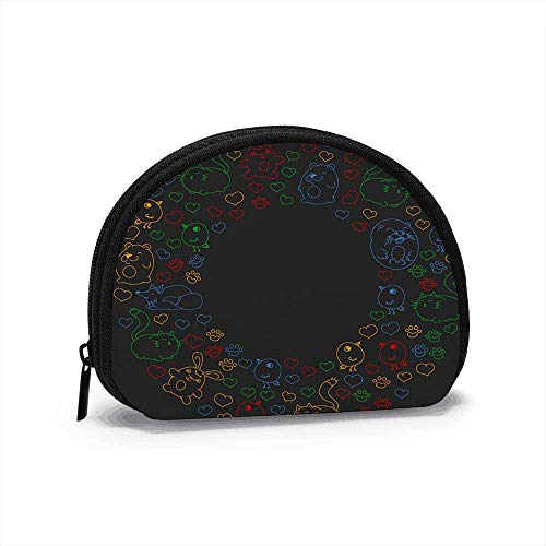 Set Beautiful Round Icons Form Animals The Arts Women Girls Shell Cosmetic Make Up Storage Bag Outdoor Shopping Coins Wallet Organizer 4.7x3.5 in