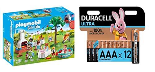 PLAYMOBIL City Life Fiesta en el Jardín, con Efectos de Luz, a Partir de 4 Años (9272) + Duracell - Ultra AAA con Powerchek, Pilas Alcalinas (Paquete de 12) 1.5 Voltios