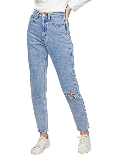 Sorrica Women's Juniors Boyfriend Jean Straight-Leg Mom Denim Pants (US 8, Light Blue)