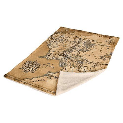 Elbenwald Herr der Ringe Flauschdecke Mittelerde Karte mit Teddyfell Sherpa extra groß 200x150cm beige