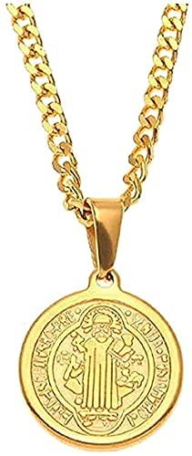 WYDSFWL Collar Hombre Collar Mujer Colgante Collar Biblia Cristiana Collar Joyas Insignia de Benedicto Santo Exorcismo Colgante Collar Acero Inoxidable Color Color Cubano Collar de Cadena Joven