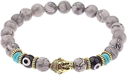 Pulsera Feng Shui Bead Pulsera de piedra, mujer, 7 chakra 8mm de piedra natural de piedra de piedra, mármol, elástico, Banco, Buddha, joyería, reima, yoga, energía, alegría, joyería, regalo difusor de
