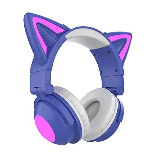 Cuffie wireless e cablate, Auricolare per orecchio per gatti Bluetooth Bluetooth Over Ear Microfono Microfono Soft Memory Aurmuffs, Auricolare da gioco stereo pieghevole compatibile per il computer