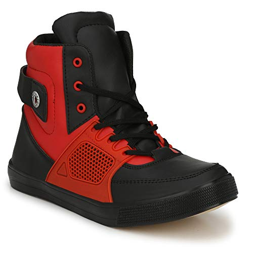 Parmar foot style Men's Casual Sneaker Hip Hop Shoe_9 UK Red Black