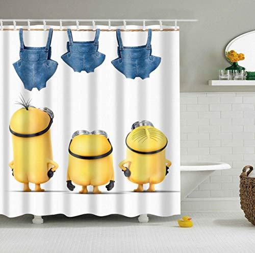 None brand Wasserdichter Polyester Stoff 3D Cartoon Badezimmer Duschvorhänge Yellow Minions Blackout Badezimmer Gardinen lang mit Haken-B150xH180cm