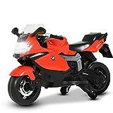 Uenjoy kompatibel mit BMW K 1300 S Elektromotorrad für Kinder, Geeignet für Kinder von 3-6 Jahren, Wiederaufladbare Batterie, DREI Geschwindigkeitsmodi, Lautsprecher, Hupe , LED-Leuchten, Rot