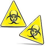 SkinoEu® 2 x 3D Gel Pegatinas Advertencia Seguridad Biológico Biohazard Toxico Precaución Detener Firmar Peligro Adhesiva Señal Riesgo Eléctrico Sécurité Radiactivos Símbolo Seguridad KS 128