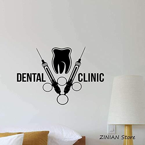 YIYEBAOFU zilver muurkunst sticker nikkel elodeondental kliniek wandtattoo hoom poster kinderkamer sticker tanden stomatologie verzorging tandarts spuit