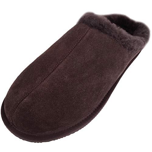 SNUGRUGS Newbury - Pantofole da uomo in pelle di pecora aperta, Marrone (Marrone), 45 EU