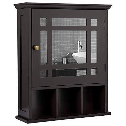 Yaheetech Mirrored Bathroom Wall Storage Cabinet with Adjustable Shelf, Wooden...