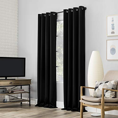 "Sun Zero Nordic 2-pack Theater Grade Extreme 100% Blackout Grommet Curtain Panel Pair, 52"" x 63"", Black"
