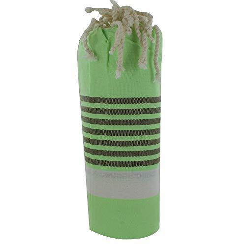 LES POULETTES Toalla de Playa o Hamman Fouta Algodón Color Verde Banda Blanca Pequeñas Rayas Marrón 100 x 200cm