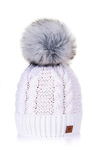 MFAZ Morefaz Ltd Mujer Sombrero De Invierno Cristales Beanie Gran Pom Pom...