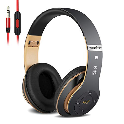 6S Over-ear Wireless Cuffie, Cuffie Wireless Bluetooth Cuffie Wireless Stereo Pieghevoli ad Alta Fedeltà, Microfono Incorporato, Micro SD/TF, FM(per iPhone/Samsung/iPad/PC) (Oro nero)