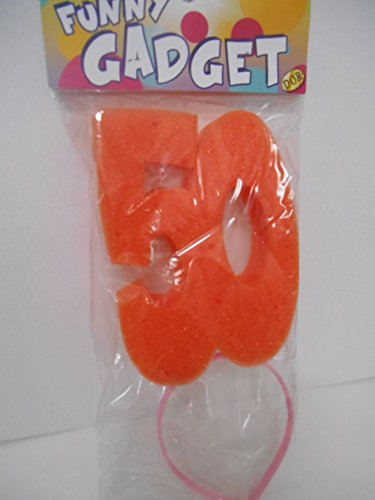 Haarband 50 jaar badstof kleur oranje gadget cadeau-idee grappig artikel voor verjaardagsfeest