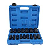 Juego de llaves de impacto de 16 piezas, juego de llaves de vaso de impacto con unidad de 1/2 pulgada, juego de llaves de vaso hexagonal de 10 mm a 32 mm con caja de herramientas