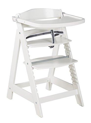 roba Treppenhochstuhl 'Sit Up Click & Fun', Hochstuhl inklusive abnehmbarem Essbrett und Bügel, innovativer Klickverschluss, mitwachsend vom Babyhochstuhl bis zum Jugendstuhl, Holz-Hochstuhl, weiß
