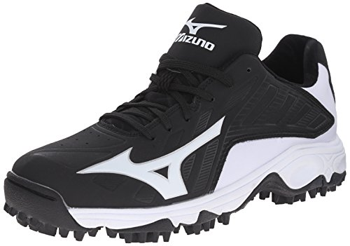 Mizuno mens 9 Spike Advanced Erupt 3 Bk-wh baseball shoes, Black/White, 9.5 US