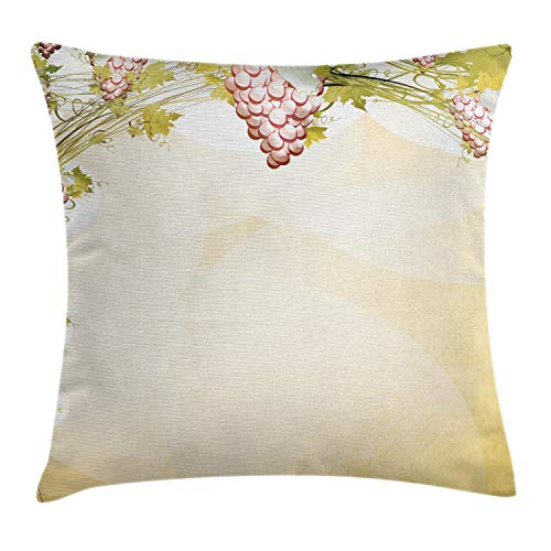 Ambesonne Vineyard Throw Pillow Cushion Cover, Grapevine Pattern in Dark Sepia Colors French Village Large Branches Region Countryside, Decorative Square Accent Pillow Case, 24' X 24', Green