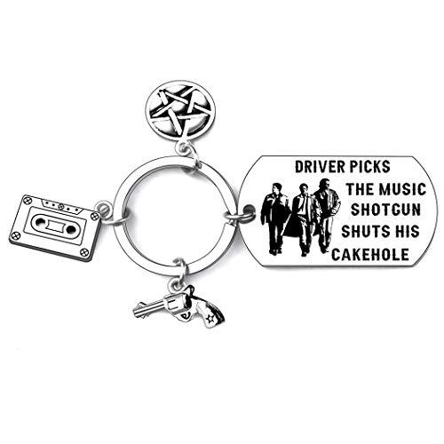 Supernatural Tv Show Supernatura Keychain Merchandise Gift Fan Driver Picks The Music Shotgun Shuts His Cakehole Supernatural Keychain Best Friends Birthday