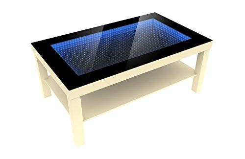 FORAM Modern Couchtisch Glastisch Beistelltisch Tiefeneffekt Tisch LED 3D (90x55, birke)