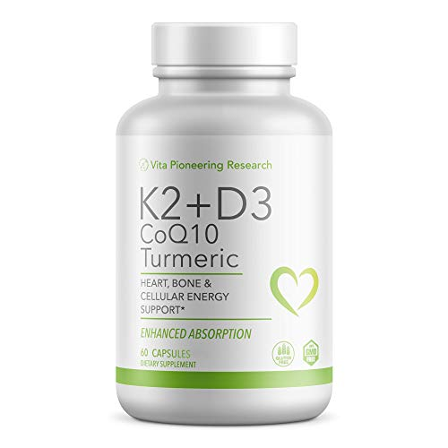 Vitamin D3 2000IU and K2 with Turmeric and COQ10 - Heart, Bone, Cellular Health Support with 10mg Avocado Powder for Better Absorption and Bio-Availability - Non-GMO and Gluten-Free - 2 Month Supply