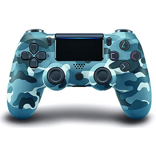 Game Controller for PS4 (Blue Camouflage), PICTEK Wireless Rechargeable, Dual Vibration Compatible with Windows PC & Android OS, Wireless Bluetooth Controller for Playstation 4