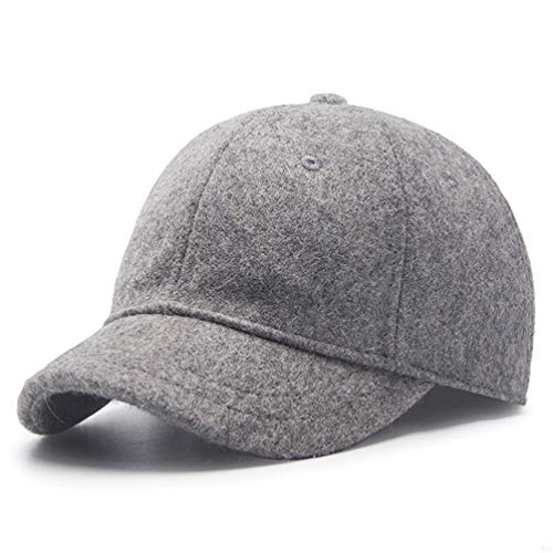 GADIEMENSS Winter Men Sport Running Hat,56-59cm Adjustable Baseball Cap Fashion Sporting Goods Hat for Dad Unisex Novelty Baseball Hat with Wool Apparel Fabric and Polyester,5cm Short Brim Light Gray